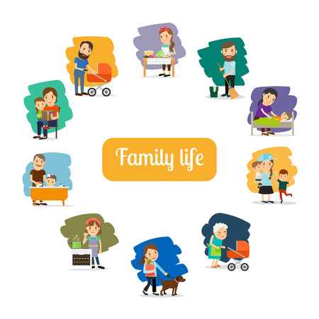 child care: Family life and parents care for the child. Vector illustration Illustration