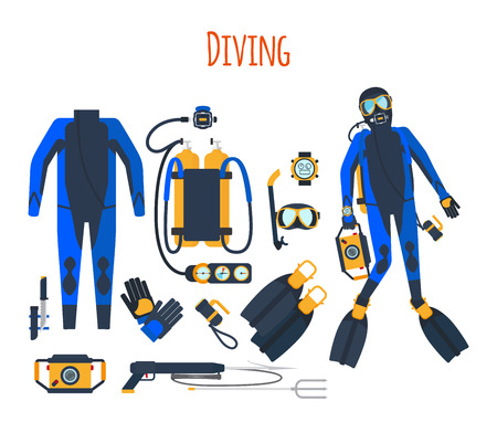 speargun: Diving equipment isolated set of vector elements Illustration