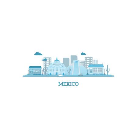 angel de la independencia: M�xico silueta del paisaje urbano en colores azules. ilustraci�n vectorial