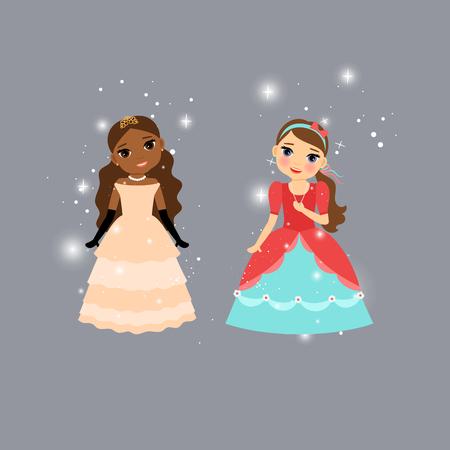 Beautiful cartoon princess characters with lights. Vector illustration