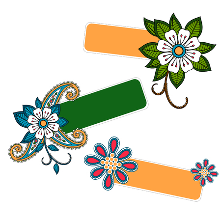 Cute floral message or banner collection. Vector illustration