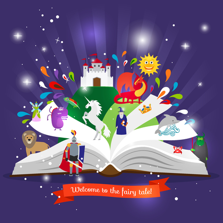 Fairy tale book. Open book with cartoon fairy tales characters vector illustration Vettoriali