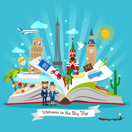 guia turistico: Libro de viajes. Dibujo animado gira de libro abierto guía con elementos de disparo del vector