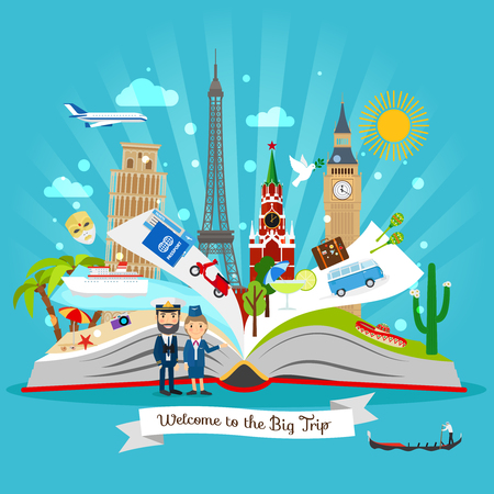 Travel book. Cartoon open tour guide book with vector trip elements