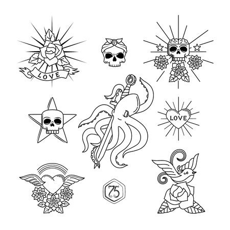 Tattoo vector elements. Linear tattoos with skull and flowers, heart, sparrow or swallow bird Illustration