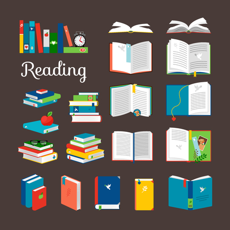 books library: Reading book vector cartoon icons set. School and hand books, library books stack vector illustration
