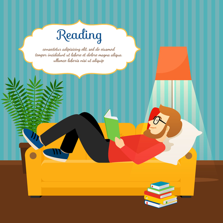 Young man reading book on comfortable sofa. Relax and home relax vector illustration Illustration