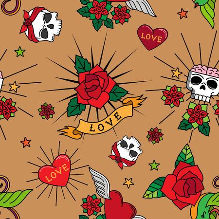 cute tattoo: Vintage cute tattoo roses, hearts and skulls vector seamless pattern Illustration
