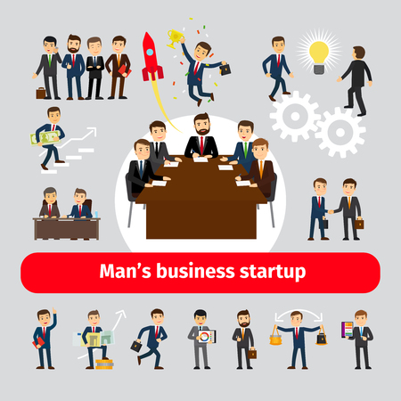 commercial activity: Flat startup concept with business people. Team creative activity vector illustration Illustration