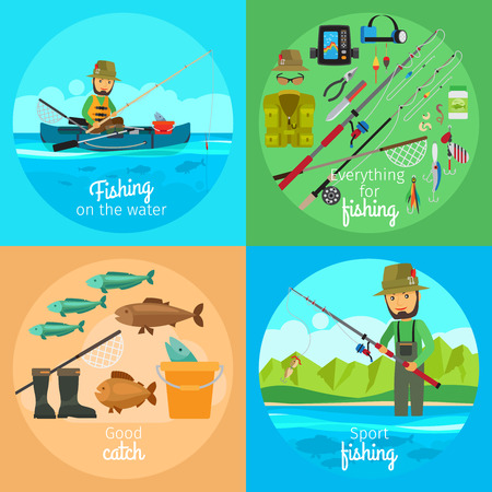 worm gear: Fishing vector concept. Fisherman in boat with fishing gear and rod with bait on the hook Illustration