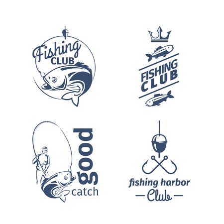 벡터 낚시 클럽 엠 블 럼입니다. 농어와 어부가 잡은 강어귀 잡기 로고 일러스트