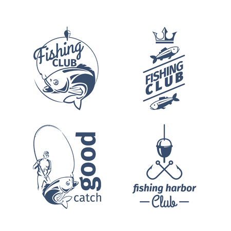 Vector fishing club emblems. River fish catching logo set with perch and fisherman