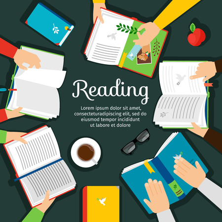 Reading club. Open books on table with hands top view vector illustration