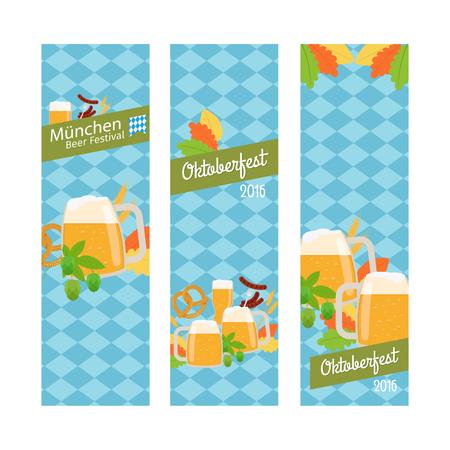 bretzel: Oktoberfest 2016 vertical banners isolated on white. Vector illustration