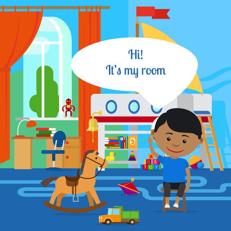 playroom: Boy with message bubble and room in flat cartoon vector style Illustration