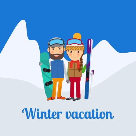 Winter sport, couple on vacation. Vector illustration