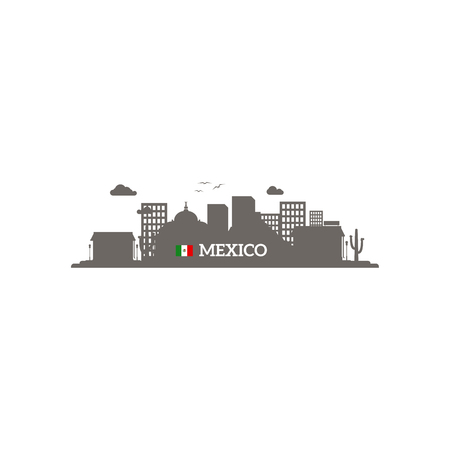yucatan: Mexico skyline silhouette with name of country and flag. Vector illustration Illustration