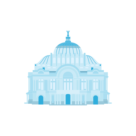 Palace silhouette in blue colors. Vector illustration