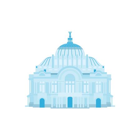 Silueta de Palacio en colores azules. Ilustración vectorial Foto de archivo - 63192849