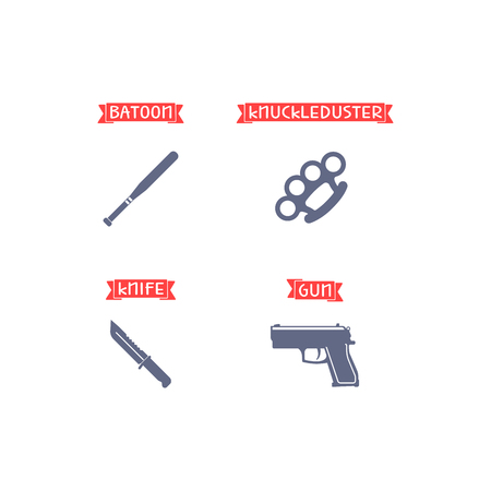 duster: Ammunition icons with names on the red ribbon. Gun, knife, knuckle duster, batoon. Vector illustration