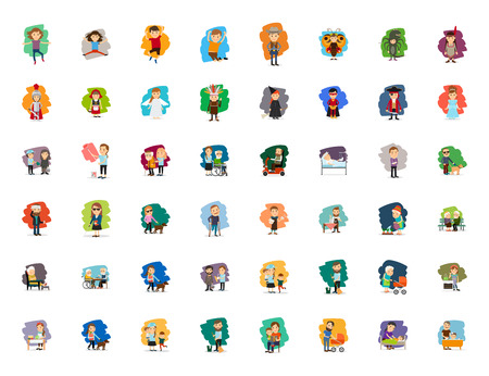 whitch: Different cartoon people characters big vector set