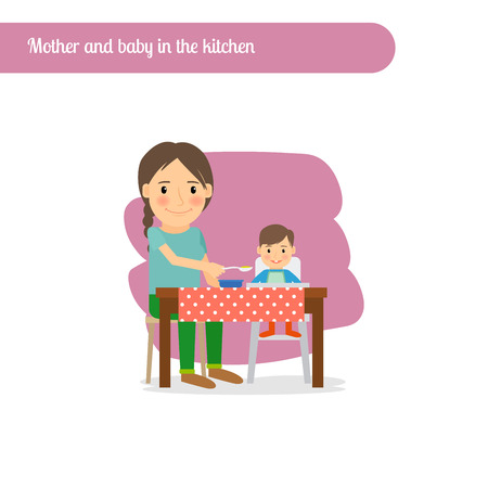 Mother and baby in the kitchen, vector cartoon character Illustration