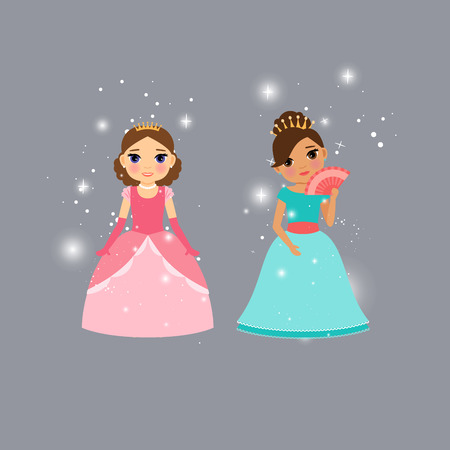 Beautiful princess characters with lights vector illustration Illustration