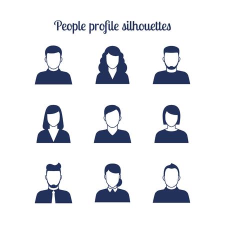 head shot: People profile silhouettes icons set. Vector illustration Illustration