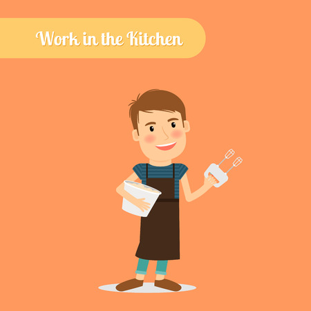 Man work in the kitchen. Cooking food man vector illustration