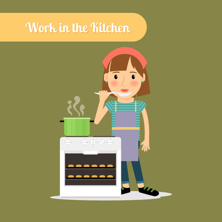 Woman work in the kitchen. Cooking food vector illustration