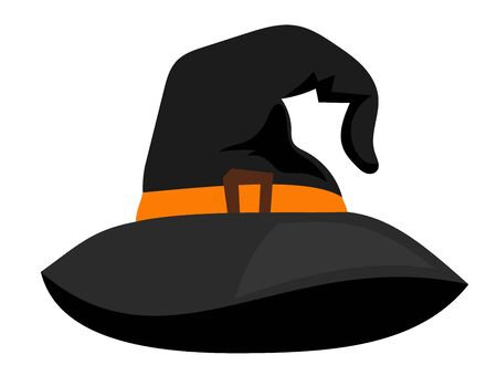 pointy hat: Witch hat or vector sorceress cap halloween wizard cartoon dark accessory on white background
