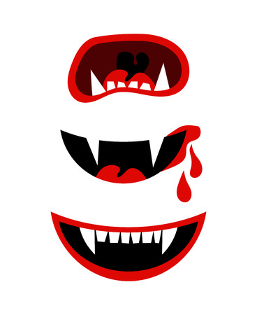 nosferatu: Vampire mouth with fangs. Vector halloween horror teeth isolated on white background