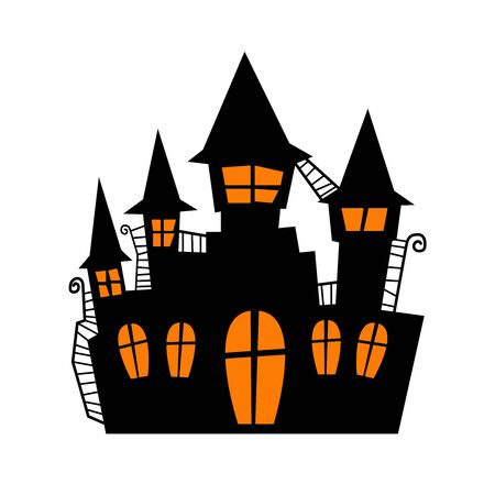 Scary old castle for halloween invitation card or halloween party poster vector