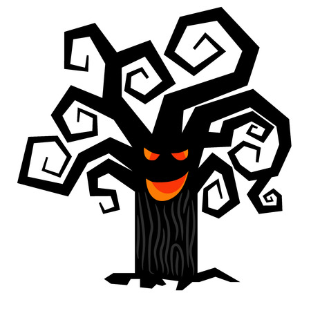 gnarled: Scary halloween tree. Vector spooky creepy dark treesisolated