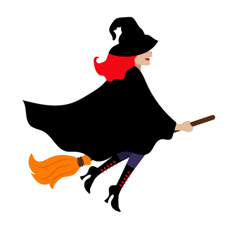 cloak: Halloween witch isolated on white background. Scary carnival magician woman with black cloak and broom Illustration