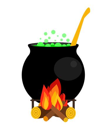 Halloween illustrazione calderone vettoriale. Strega calderone con pozione verde isolato su sfondo bianco