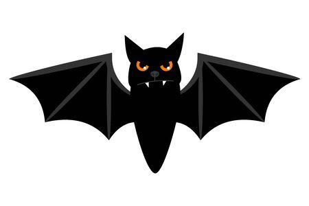 Vuelo del palo de Halloween aislado en el fondo blanco. ojos de miedo murciélago vampiro vector Ilustración de vector
