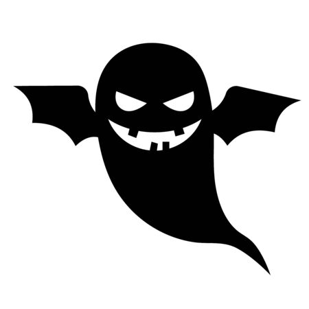 ghostly: Scary ghost vector halloween silhouette character with bat wings isolated on white