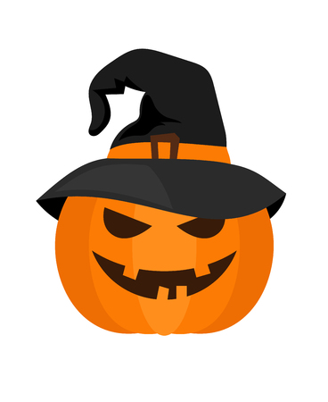 frightful: Smiling orange halloween pumpkin with witch hat vector isolated on white background Illustration