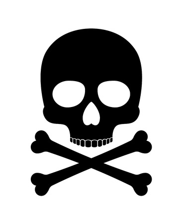 robberies: Skull vector silhouette. Crossbones skull death icon isolated on white background
