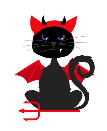 Grumpy gatto halloween con le ali di pipistrello diavolo isolato su sfondo bianco illustrazione vettoriale per halloween invito a una festa