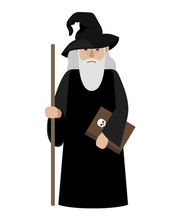 abracadabra: Cartoon wizard vector illustration. Magic old man enchanter or magician isolated on white background