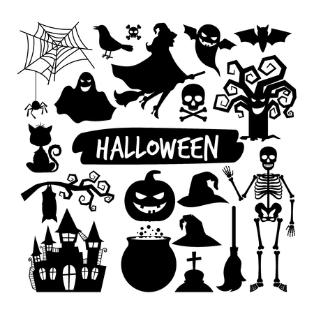Halloween black silhouettes. Happy halloween vector night icons, bat and skeleton, owl and ghost Vettoriali