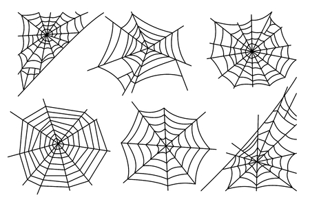hector: Halloween spider web isolated on white background. Hector venom cobweb set. Vector illustration