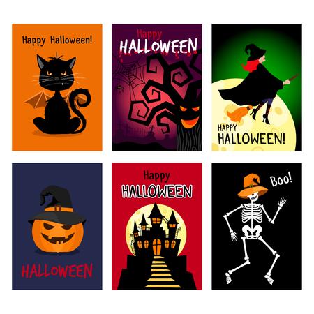 whitch: Retro autumn halloween posters. Night vector halloween flyer set vector illustration