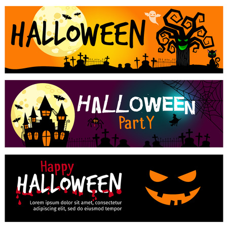 dramatic sky: Happy halloween banners. Halloween invitations with dramatic landscape with moon in sky and blood vector illustration