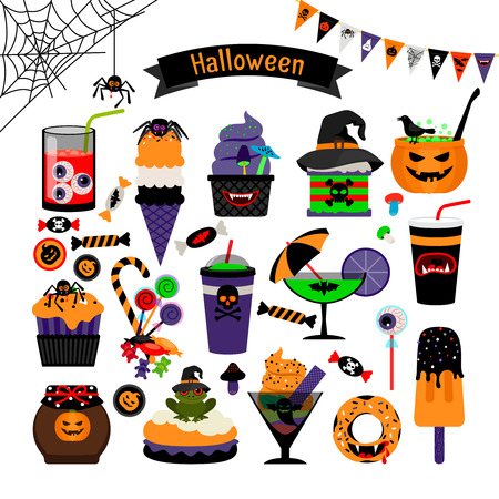 witchcraft: Halloween witchcraft sweets vector flat icons. Pumpkin and muffins, candy and ice cream for kids Illustration