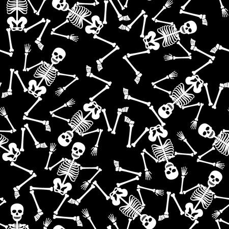 Skeleton dancing ghostly dead figure vector seamless pattern