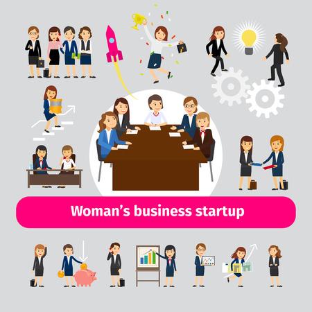 Professioneel vrouwen bedrijfsvoorzien van een netwerk. Groep vrouwen voor opstarten van bedrijven of team werk vectorillustratie
