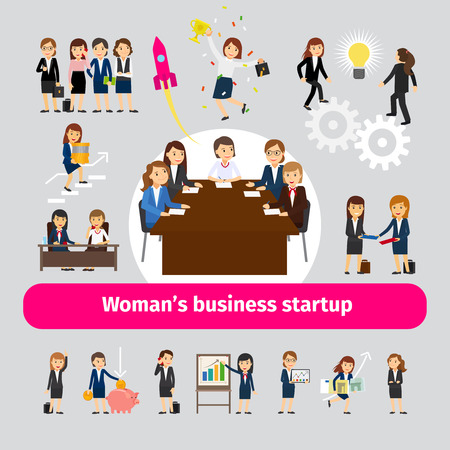 Professional woman business networking. Group of women for business startup or team work vector illustration Illustration